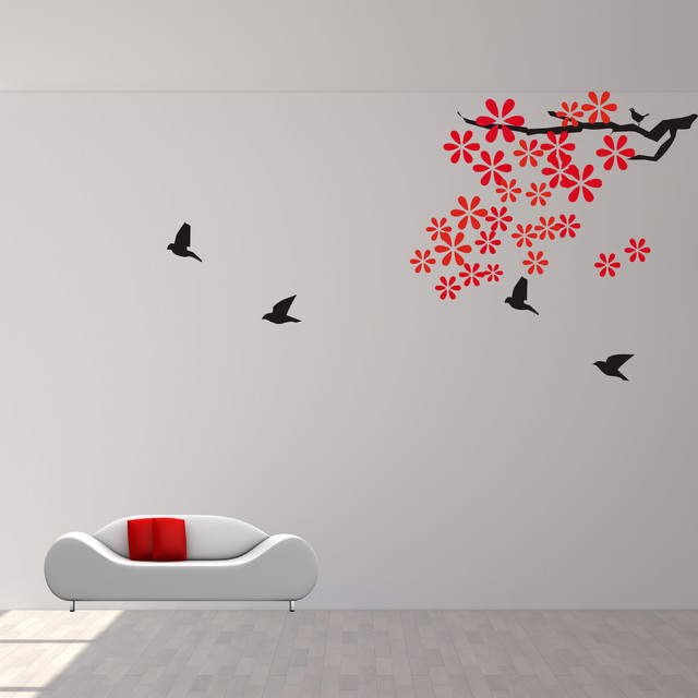 branch wall decals with flying birds vinyl art modern