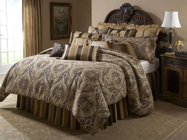 Aico Furniture Lucerne Gold Brown Paisley 12 Pc Queen