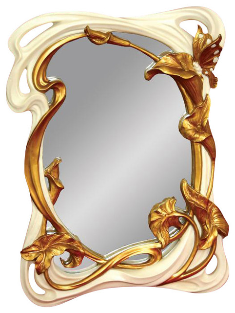 Standing Hanging Hand Painted Art Nouveau Butterfly Mirror