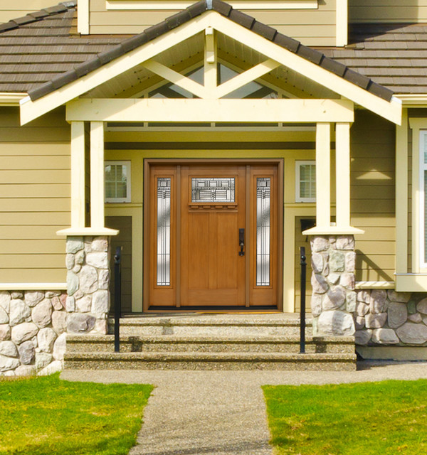 Craftsman Entry Door With Leaded Glass Sidelites