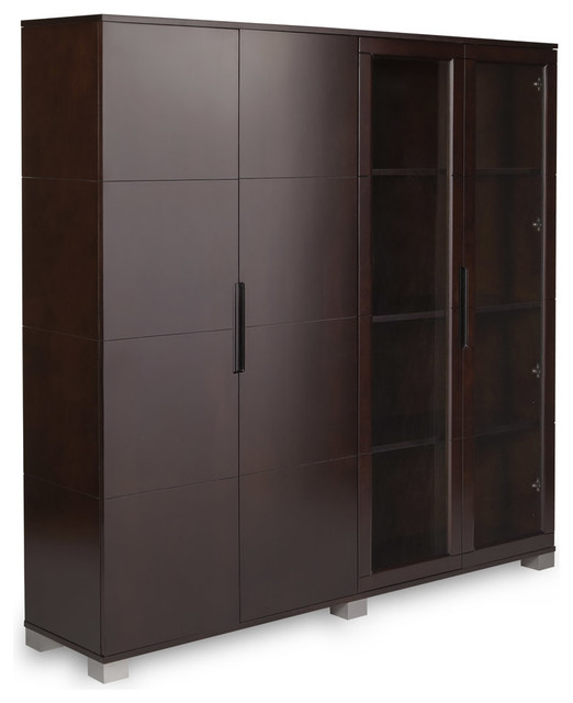 Decorative Wall Shelves With Doors : Hayes exectutive wall unit with glass doors contemporary