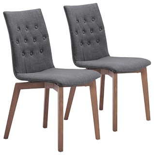 Set of 2 zuo orebro graphite accent chairs contemporary for Kitchen and table orebro