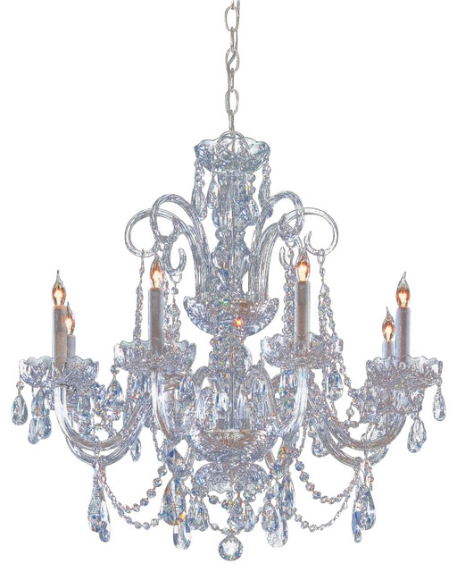 Traditional crystal eight light polished chrome up chandelier traditional chandeliers by - Traditional crystal chandeliers ...