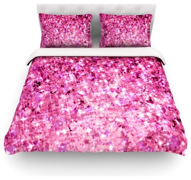 ebi emporium romance me pink glitter duvet cover cotton twin contemporary duvet covers. Black Bedroom Furniture Sets. Home Design Ideas