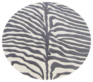Eden Zebra Rug Gray And Ivory 6 Round Contemporary Area Rugs