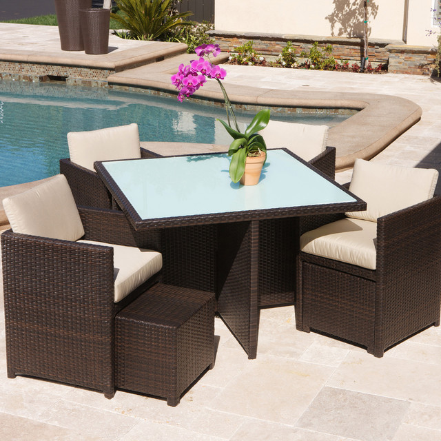 Christopher knight home beaumont 9 piece outdoor seating for Contemporary outdoor furniture