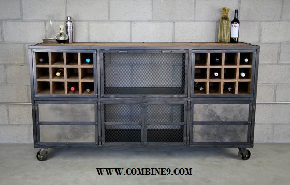 Industrial Reclaimed Wood Bar Cabinet Modern Liquor cabinet