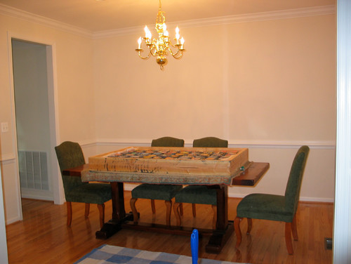 Formal dining room becomes casual lounge for Casual formal dining room