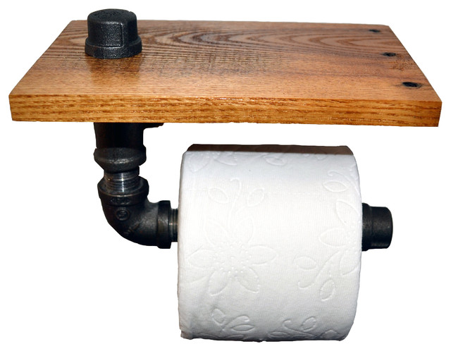 Reclaimed wood and pipe toilet paper holder puritan pine rustic toilet roll holders by - Rustic toilet roll holder ...