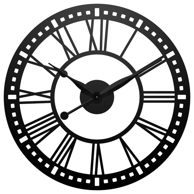 abbey 38 round large black wall clock traditional