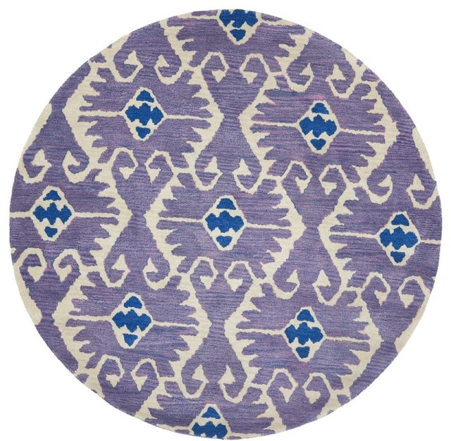 Contemporary wyndham round 7 39 round lavander ivory area for Area rugs round contemporary
