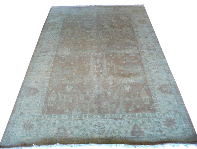 6x9 hand knotted rust oushak oriental rug
