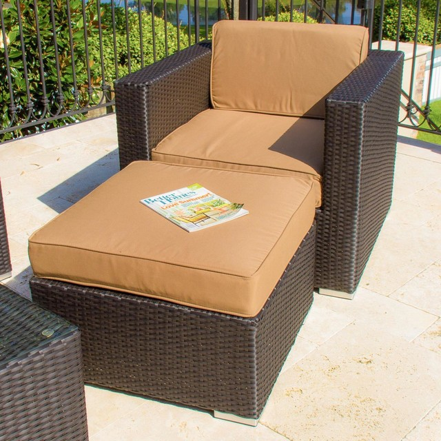 Avery island resin wicker patio club chair with small for Small armchair with ottoman