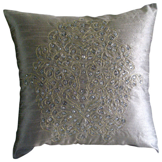 Silver Gold Damask Silver Silk Throw Pillow Cover, 16x16 transitional-decorative-pillows