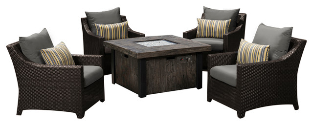 Deco 5 piece fire chat set charcoal gray contemporary outdoor lounge sets by rst outdoor - Deco lounge eetkamer modern ...
