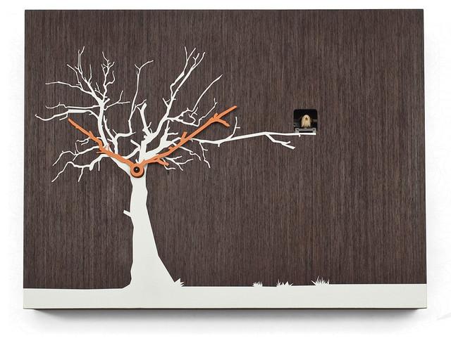 cucuruku 1767 natural wenge white tree wall clock. Black Bedroom Furniture Sets. Home Design Ideas