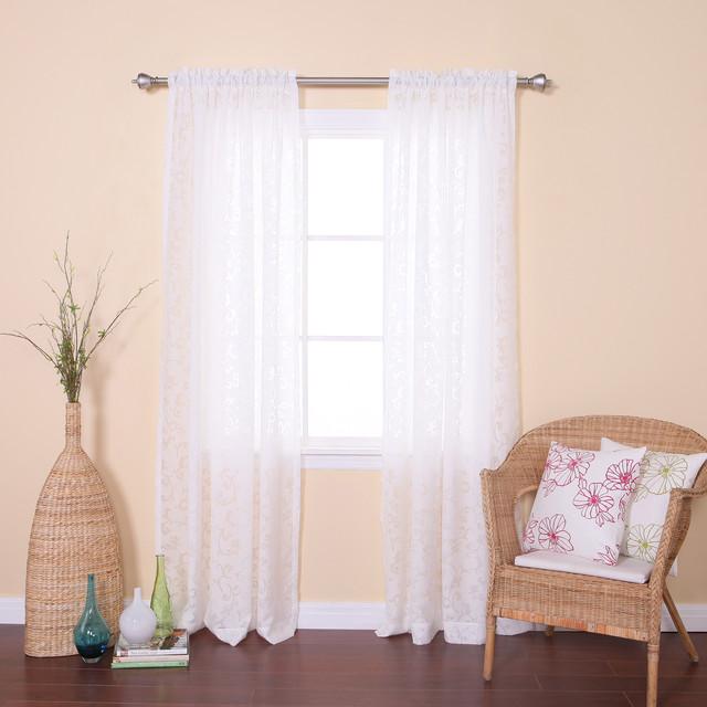 Vine Burnout Sheer Rod Pocket 84 Inch Curtain Panel Pair