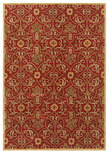 Hand-tufted Red Wool Area Rug (8' x 11') - Contemporary - Area Rugs - by Overstock.com