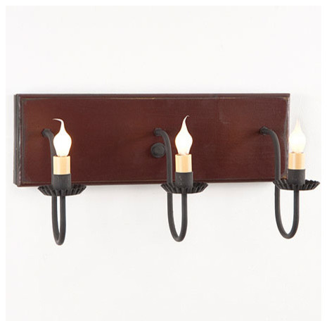Vanity Lights Farmhouse : Three Arm Farmhouse Vanity Light , Sturbridge Red - Farmhouse - Bathroom Vanity Lighting - by ...