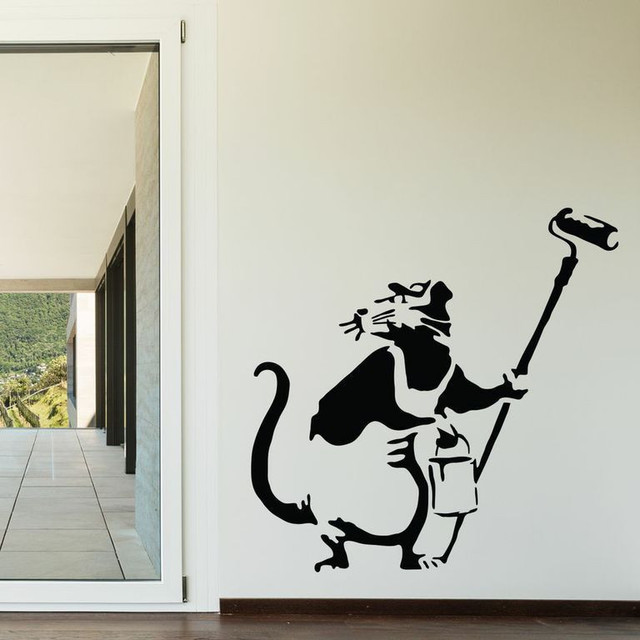 Banksy rat painter wall decal large contemporary wall for Banksy rat mural