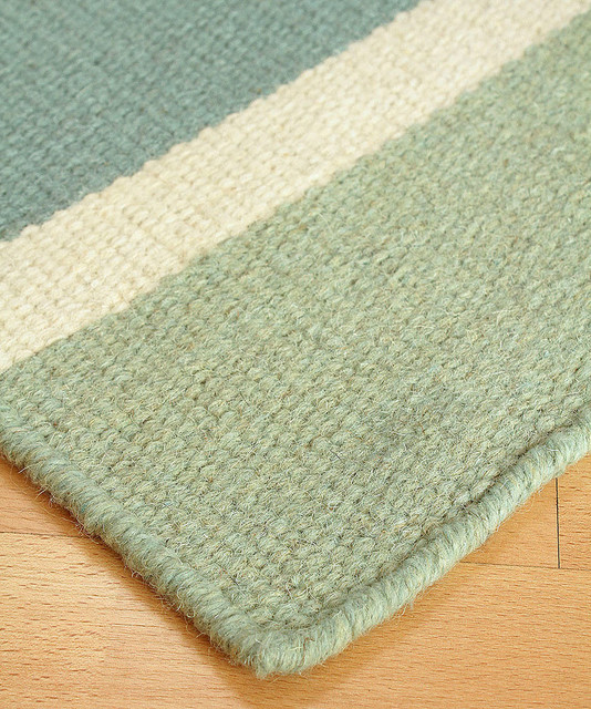Sea glass wool berber stripe rug transitional rugs for Wool berber area rug