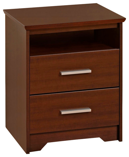 Prepac coal harbor espresso 2 drawer tall night stand for Tall modern nightstands
