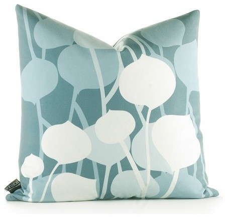 Modern Graphic Pillow : Aequorea Seedling Graphic Pillow in Cornflower - Modern - Scatter Cushions