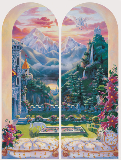 Princess view from the castle trompe l 39 oeil window murals eclectic w - Stickers trompe oeil mural ...