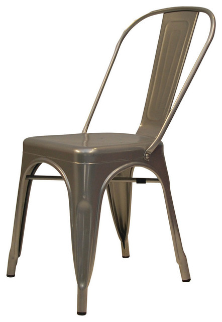 Metallica Metal Dining Chairs Gray Not Perforated Set Of 4 Modern Dini