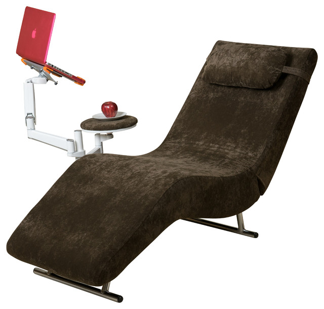 Eason velvet adjustable chaise style chair and tablet for Chaise longue tours