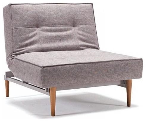 Splitback fauteuil design gris convertible lit pieds ch ne 90 115 contempor - Fauteuil chauffeuse design ...