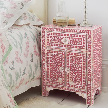 Classic Mother of Pearl Inlay Side Table in Pink - Bedside Tables - Furniture - Eclectic - Side ...