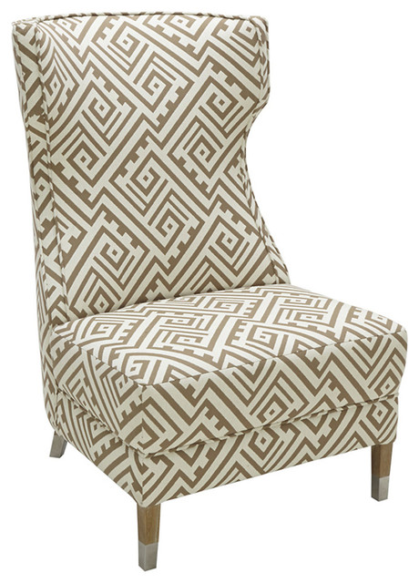 hewes geometric accent chair taupe modern armchairs