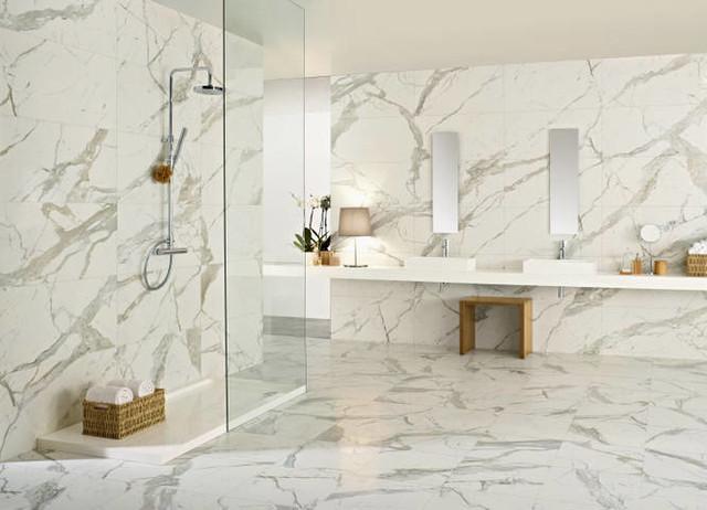 Domino Carrara Glazed Porcelain Wall And Floor Tiles