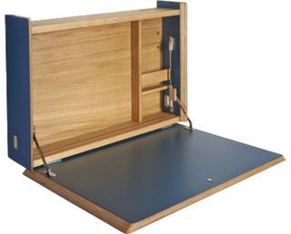 ellis secr taire mural bleu moderne meuble bureau et. Black Bedroom Furniture Sets. Home Design Ideas