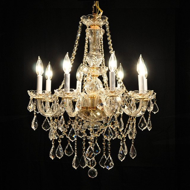 Gold or chrome glass arm traditional crystal chandelier lighting fixture traditional - Traditional crystal chandeliers ...