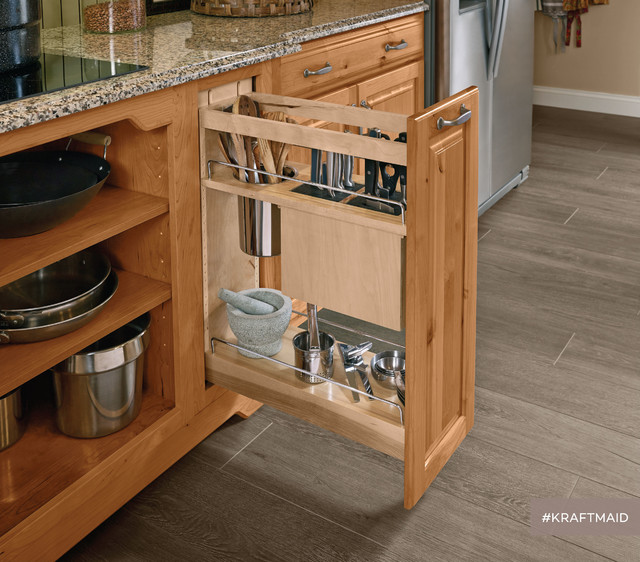 Nice Kitchen Base Cabinet Pull Outs Part - 9: Pantry Pull Out Cabinet With KraftMaid: Kitchen Base Pantry PullOut Utensil  Storage Rustic With Pull