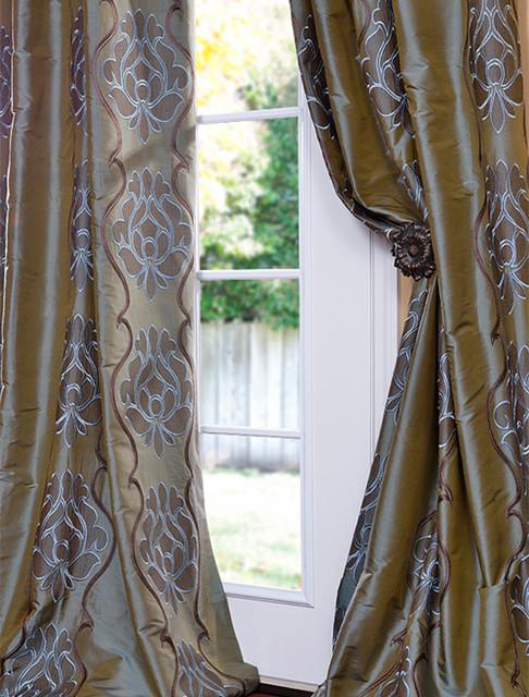 Toulon Sea Blue Silk Curtain Traditional Curtains