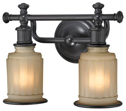 Acadia oil rubbed bronze two light bath fixture modern for Bathroom vanity light fixtures oil rubbed bronze
