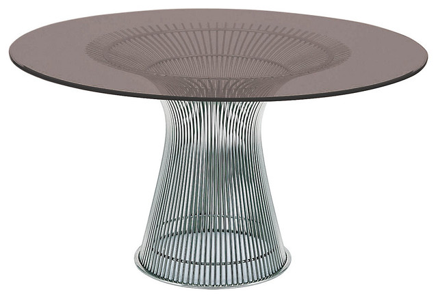 Dining Table Chrome Base Bronze Glass Midcentury Dining Tables