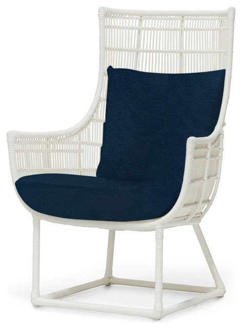 Tyler Modern Classic Faux Wicker Cream Outdoor Lounge Chair Navy Modern
