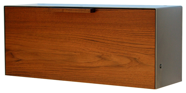 Teak and Stainless Steel Mailbox, Stainless Steel - Modern - Mailboxes - by Laura Rittenhouse