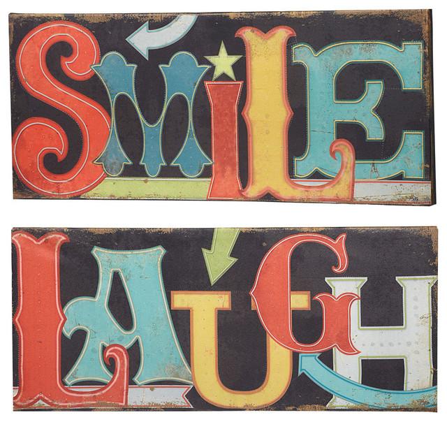 smile laugh light up led canvas wall art signs set of 2. Black Bedroom Furniture Sets. Home Design Ideas