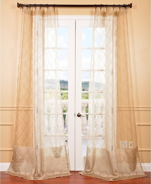 Signature palazzo gold 108 inch banded sheer curtains for 108 window treatments