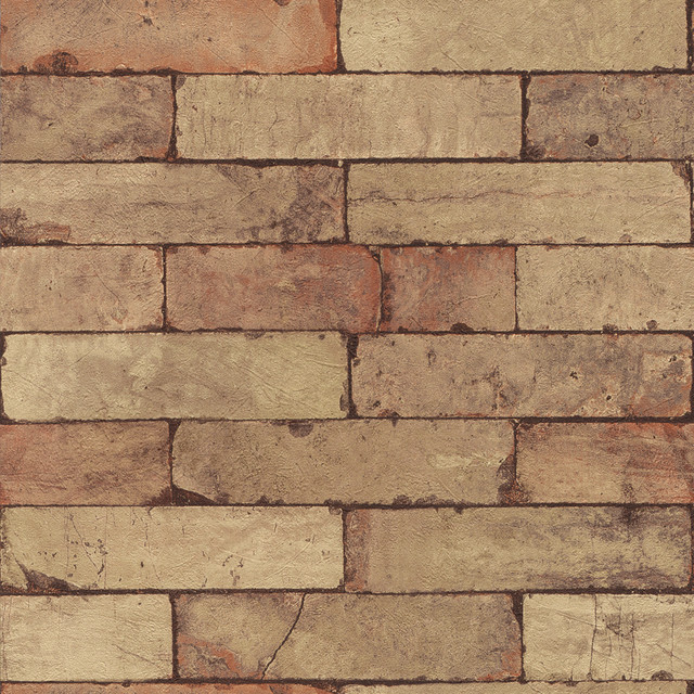 Medium tan distressed brick wallpaper wallpaper by for Distressed brick wall mural