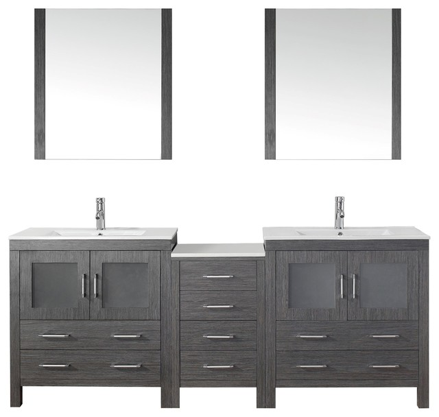 Dior 82 double bathroom vanity cabinet set in zebra grey for Al sarraf decoration