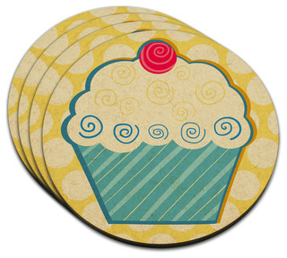 Tasty Cupcake MDF Wood Coaster, Set of 4 - Contemporary - Coasters ...