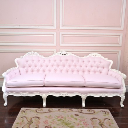 Light Pink Linen Tufted Vintage Style Sofa Traditional