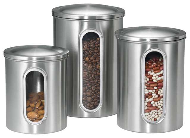 canisters with windows stainless steel set of 3