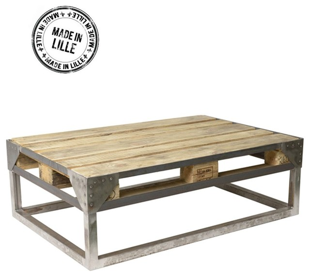 Table Basse Palette Industrielle Cargo Couleur Vert Mousse